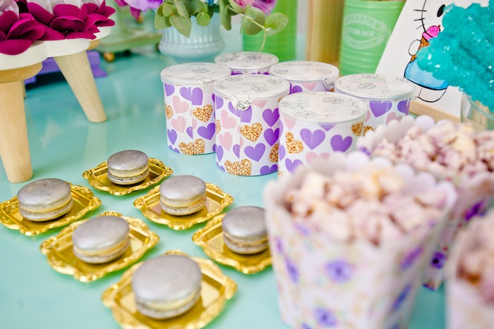 Macarons and favors from a Floral Hello Kitty Birthday Party on Kara's Party Ideas | KarasPartyIdeas.com (24)