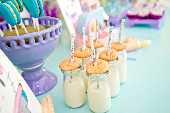 Milk bottles topped with cookies from a Floral Hello Kitty Birthday Party on Kara's Party Ideas | KarasPartyIdeas.com (20)