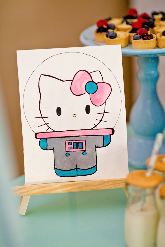 Space Hello Kitty print from a Floral Hello Kitty Birthday Party on Kara's Party Ideas | KarasPartyIdeas.com (17)