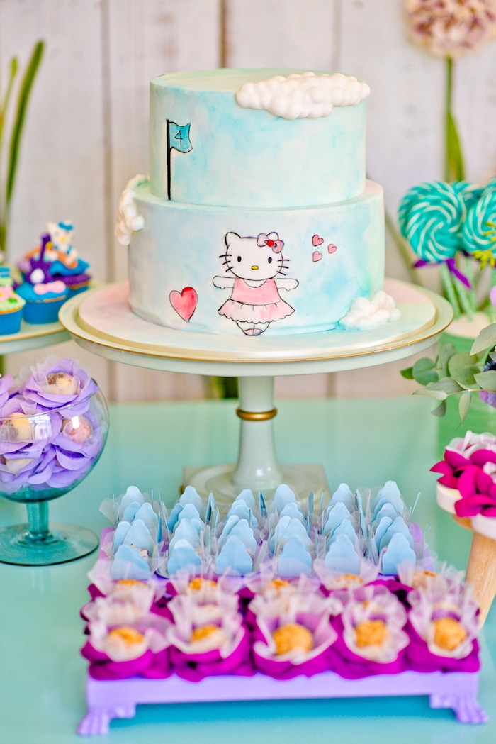 Hello Kitty cake from a Floral Hello Kitty Birthday Party on Kara's Party Ideas | KarasPartyIdeas.com (15)
