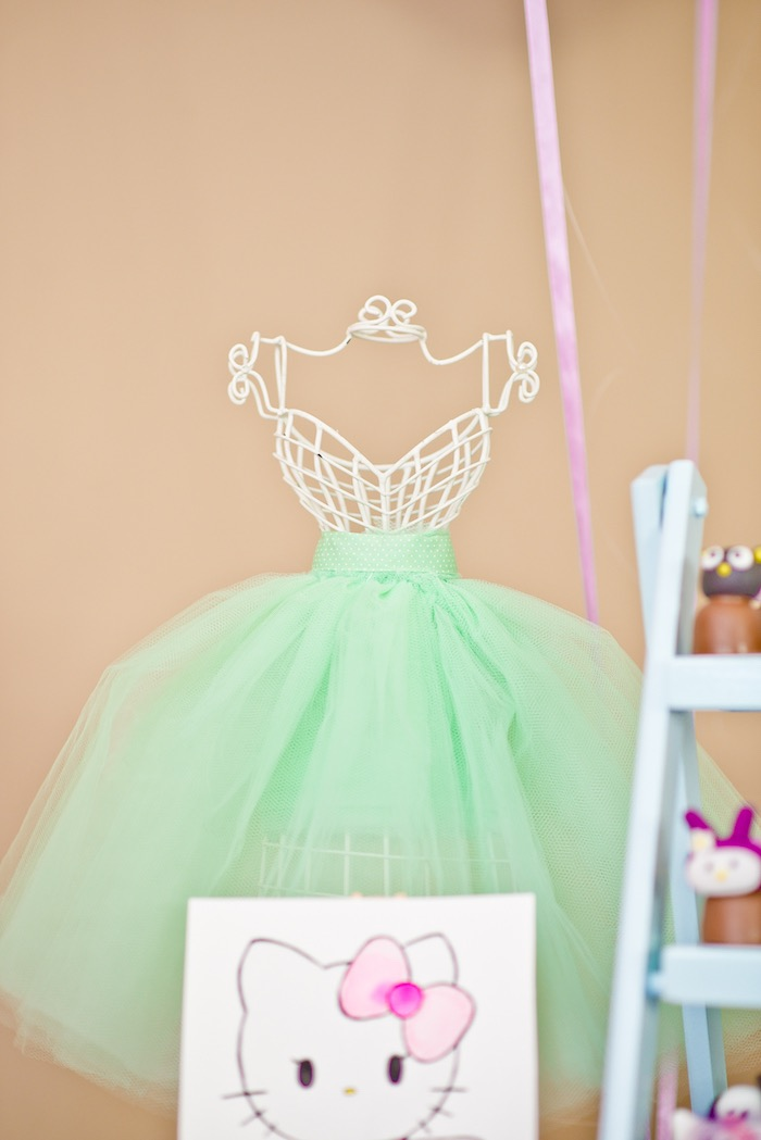 Wire dress form from a Floral Hello Kitty Birthday Party on Kara's Party Ideas | KarasPartyIdeas.com (13)
