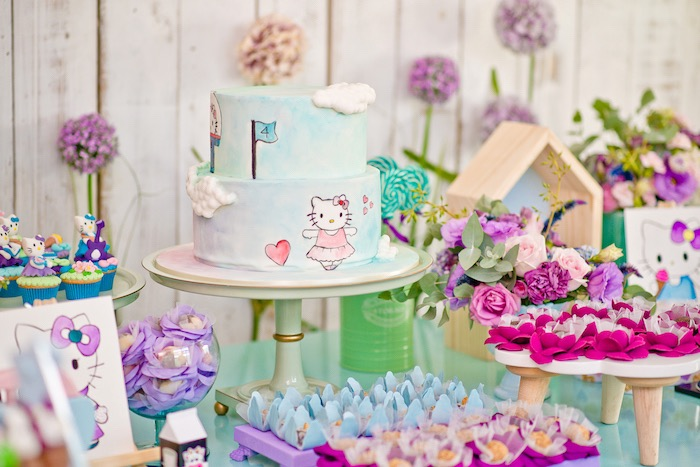 Cakescape from a Floral Hello Kitty Birthday Party on Kara's Party Ideas | KarasPartyIdeas.com (7)