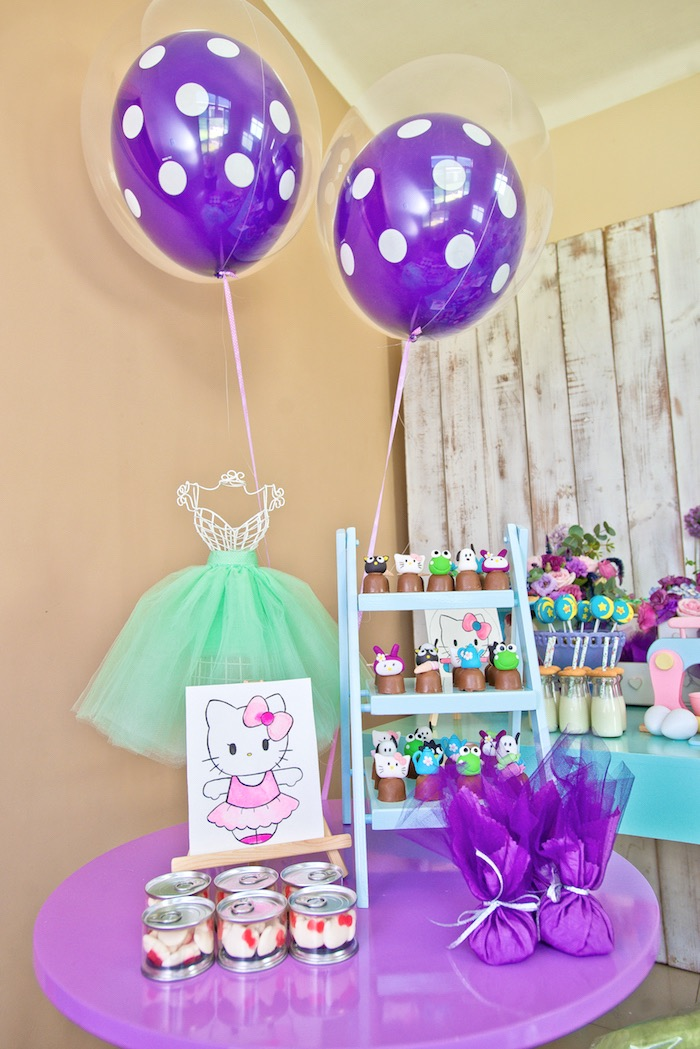 Hello Kitty ballerina table from a Floral Hello Kitty Birthday Party on Kara's Party Ideas | KarasPartyIdeas.com (32)