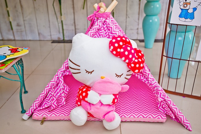 Hello Kitty tent from a Floral Hello Kitty Birthday Party on Kara's Party Ideas | KarasPartyIdeas.com (29)