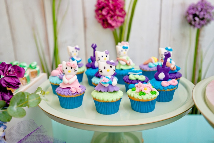Hello Kitty Cupcakes from a Floral Hello Kitty Birthday Party on Kara's Party Ideas | KarasPartyIdeas.com (28)