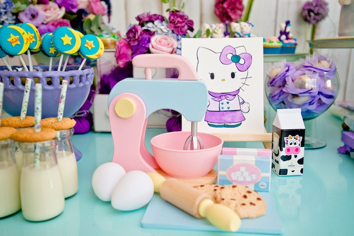 Baking Hello Kitty from a Floral Hello Kitty Birthday Party on Kara's Party Ideas | KarasPartyIdeas.com (27)