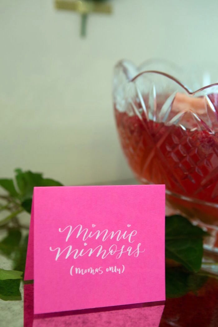 """""""Minnie Mimosas"""" drink label from a Floral Minnie Mouse Birthday Party on Kara's Party Ideas 