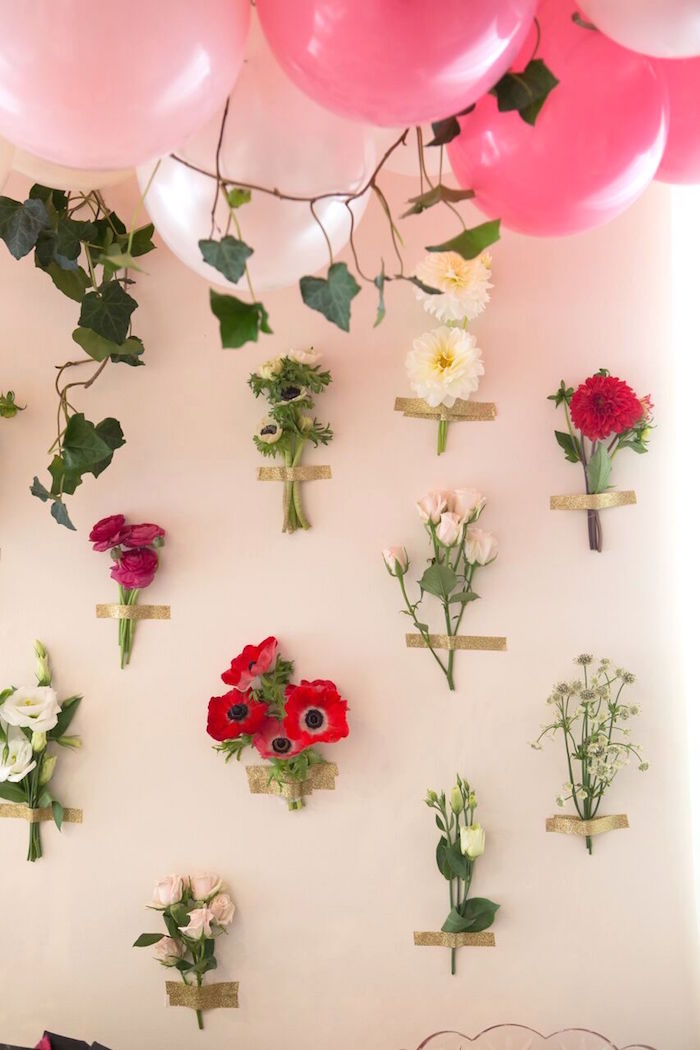 Floral wall from a Floral Minnie Mouse Birthday Party on Kara's Party Ideas | KarasPartyIdeas.com (19)