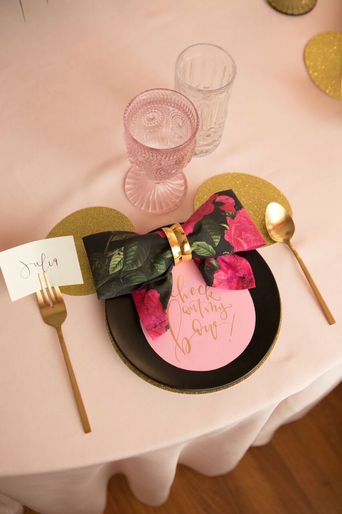 Minnie Mouse place setting from a Floral Minnie Mouse Birthday Party on Kara's Party Ideas | KarasPartyIdeas.com (11)