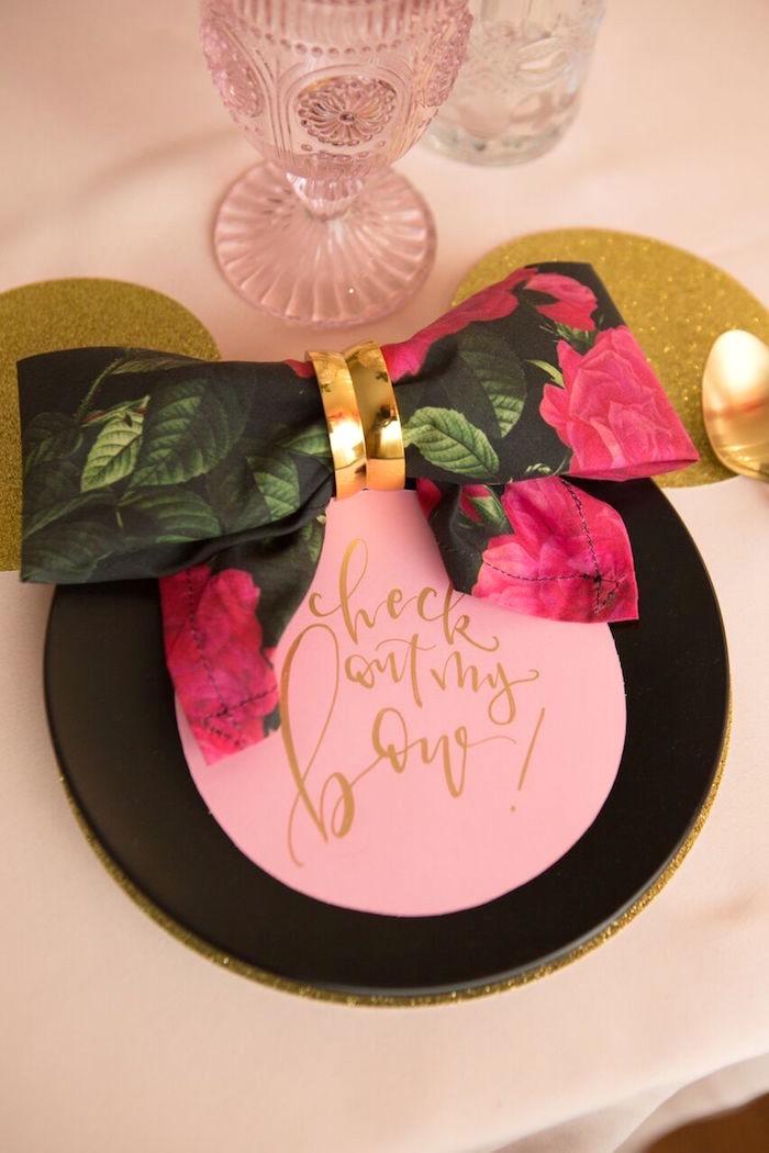 Bow napkin from a Floral Minnie Mouse Birthday Party on Kara's Party Ideas | KarasPartyIdeas.com (10)