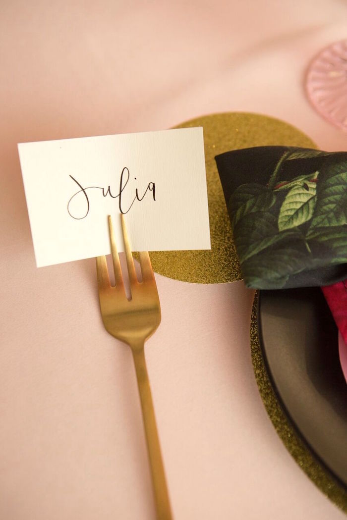 Forked place card from a Floral Minnie Mouse Birthday Party on Kara's Party Ideas | KarasPartyIdeas.com (9)