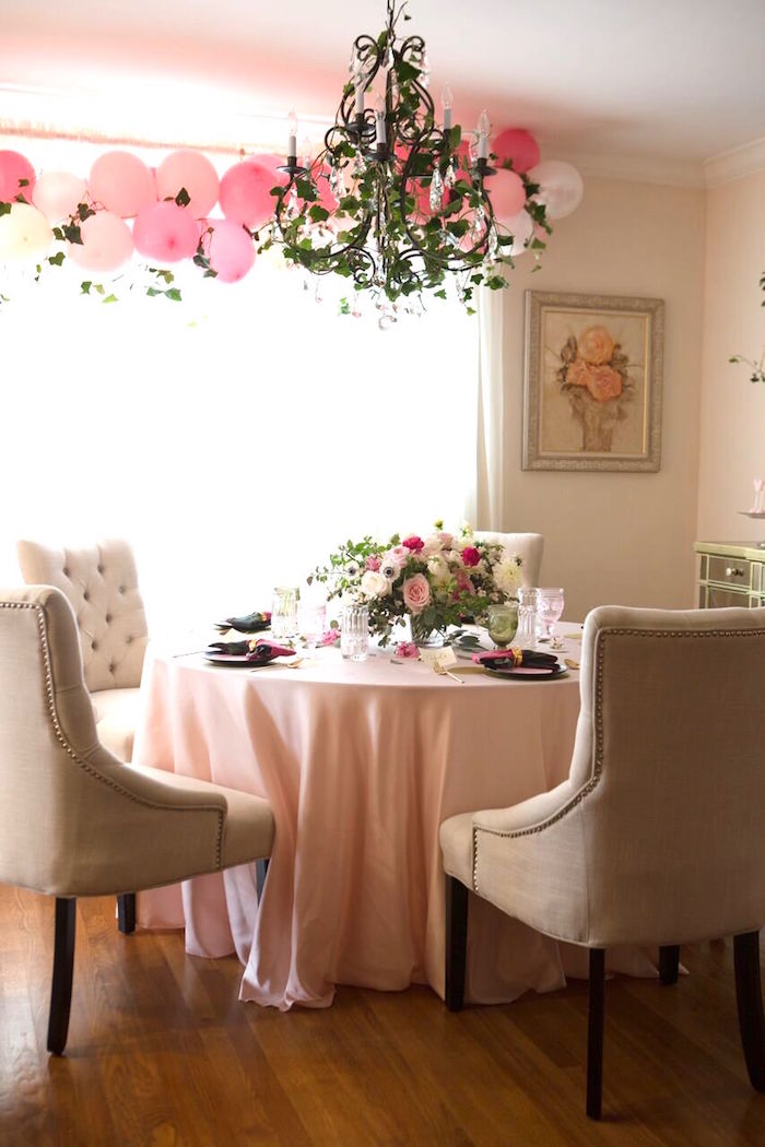 Guest table from a Floral Minnie Mouse Birthday Party on Kara's Party Ideas | KarasPartyIdeas.com (7)