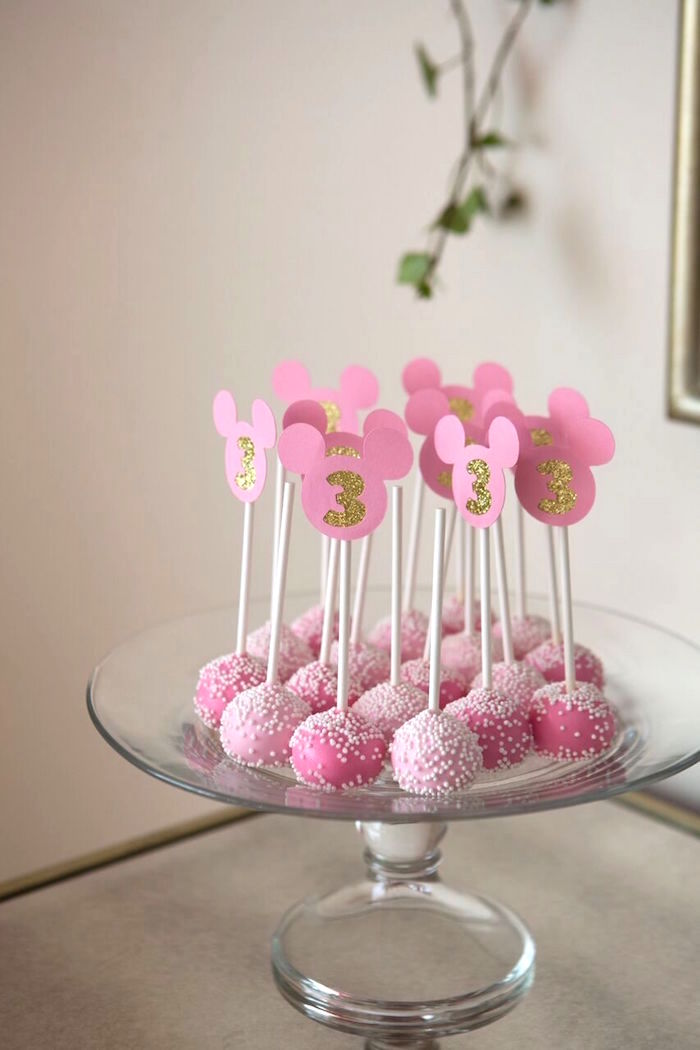 Minnie Mouse cake pops from a Floral Minnie Mouse Birthday Party on Kara's Party Ideas | KarasPartyIdeas.com (4)