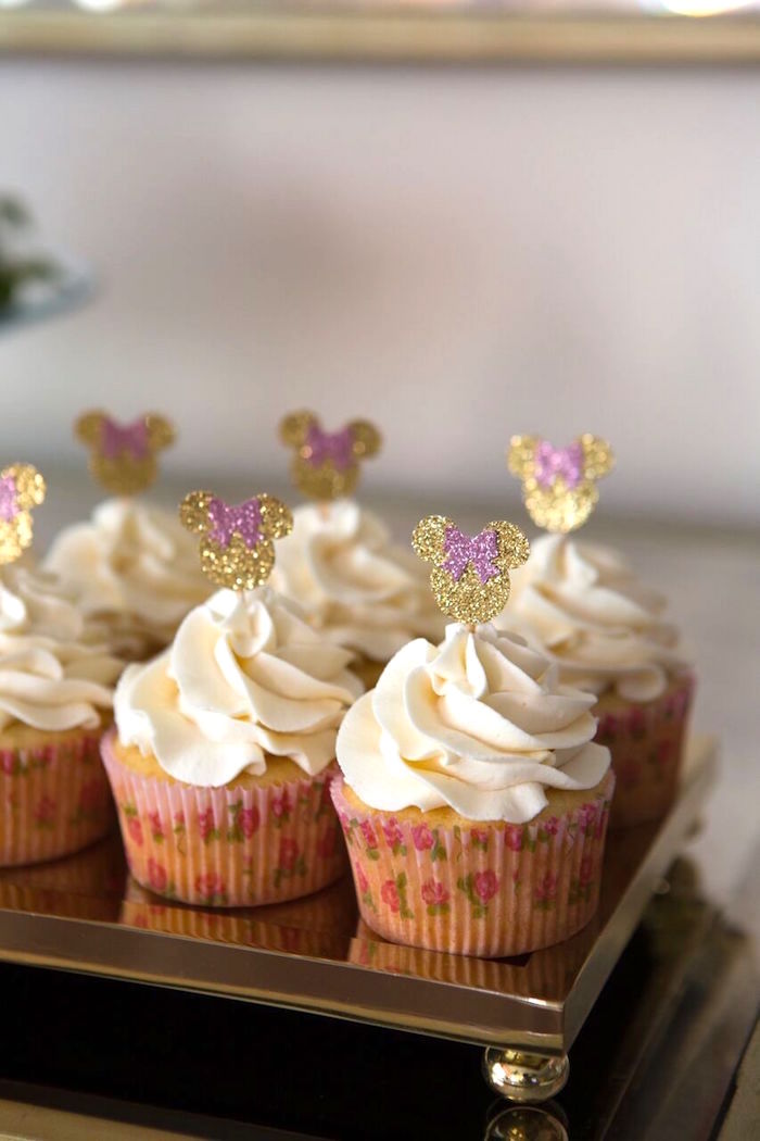 Minnie Mouse cupcakes with glitter toppers from a Floral Minnie Mouse Birthday Party on Kara's Party Ideas | KarasPartyIdeas.com (28)