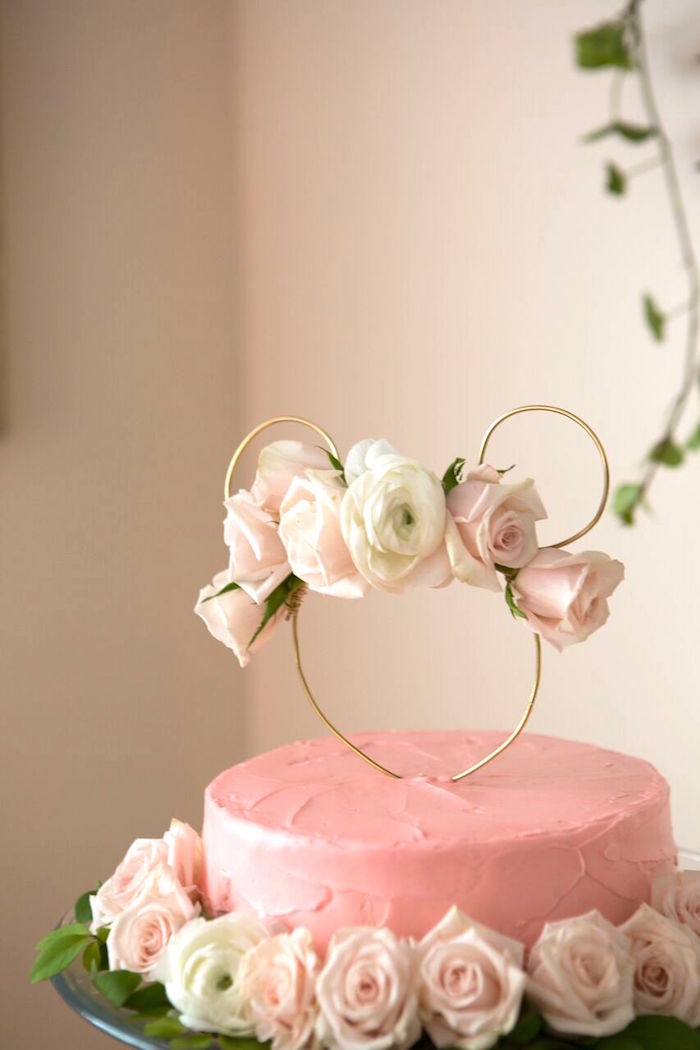 Gorgeous pink cake with wire Minnie Mouse cake topper from a Floral Minnie Mouse Birthday Party on Kara's Party Ideas | KarasPartyIdeas.com (27)