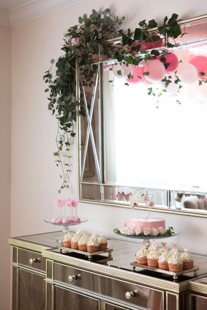 Dessert spread from a Floral Minnie Mouse Birthday Party on Kara's Party Ideas | KarasPartyIdeas.com (25)