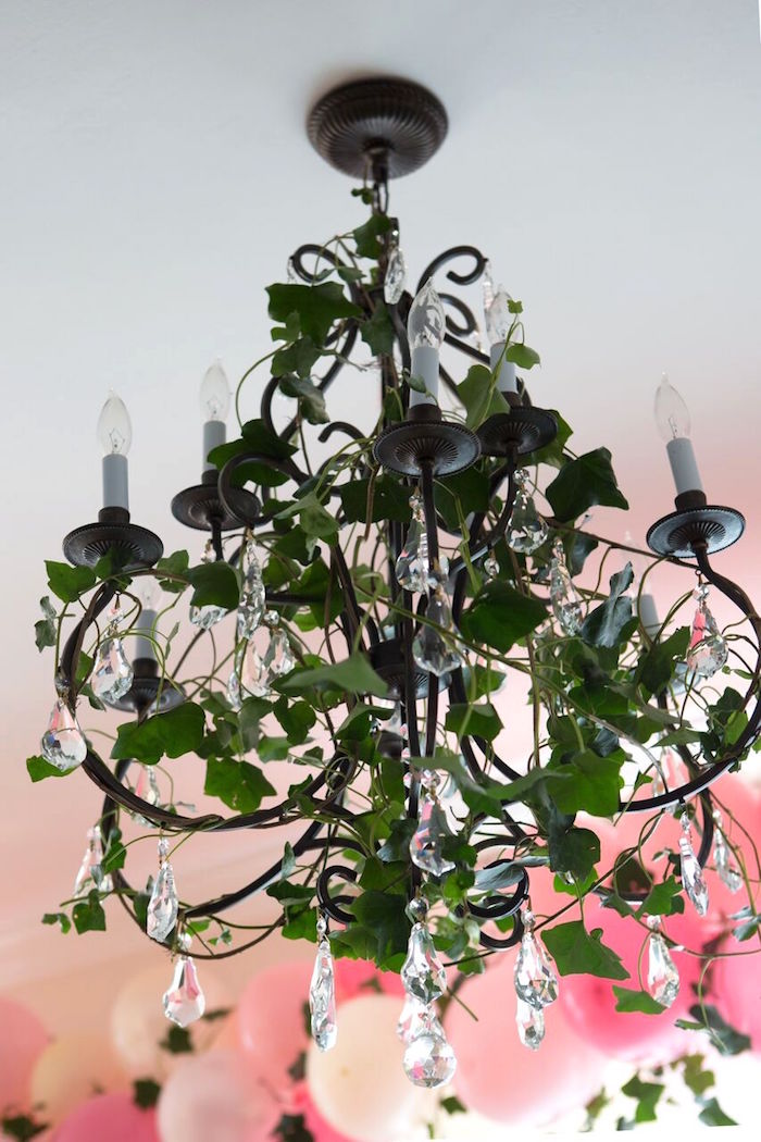 Chandelier draped with greenery from a Floral Minnie Mouse Birthday Party on Kara's Party Ideas | KarasPartyIdeas.com (24)