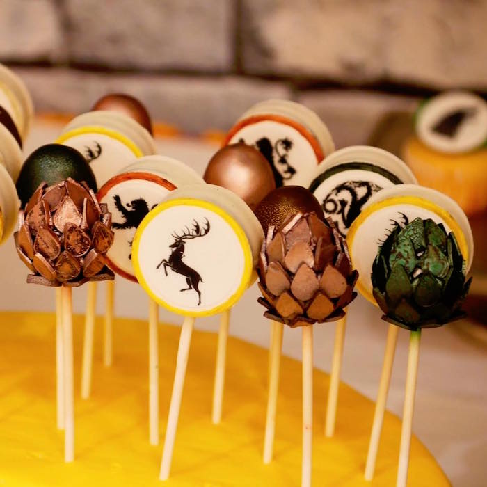 Game of Thrones cake pops + chocolate covered Oreos from a Game of Thrones Birthday Party on Kara's Party Ideas | KarasPartyIdeas.com (12)
