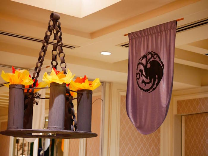 Chandelier + flag from a Game of Thrones Birthday Party on Kara's Party Ideas | KarasPartyIdeas.com (11)