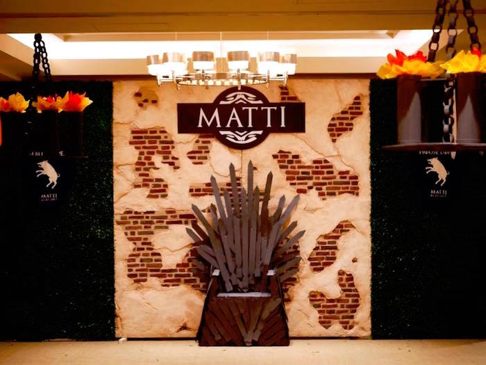 Throne photo booth + backdrop from a Game of Thrones Birthday Party on Kara's Party Ideas | KarasPartyIdeas.com (10)