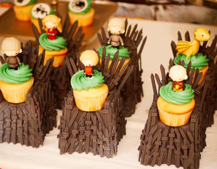 Cupcakes on throne pedestals from a Game of Thrones Birthday Party on Kara's Party Ideas | KarasPartyIdeas.com (8)