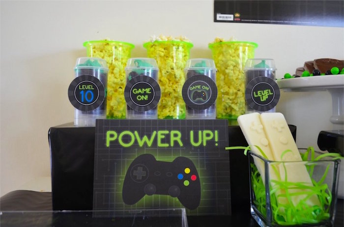 Power up push pops from a Gaming + Video Gamer Birthday Party on Kara's Party Ideas | KarasPartyIdeas.com (15)