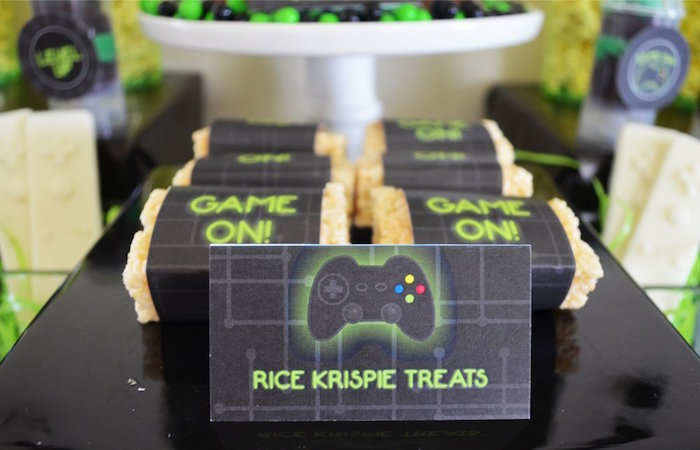 Rice Krispie Treats from a Gaming + Video Gamer Birthday Party on Kara's Party Ideas | KarasPartyIdeas.com (13)