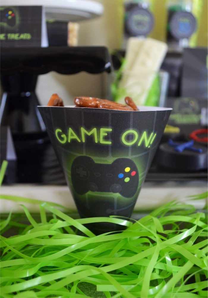Game on favor/snack cone from a Gaming + Video Gamer Birthday Party on Kara's Party Ideas | KarasPartyIdeas.com (11)