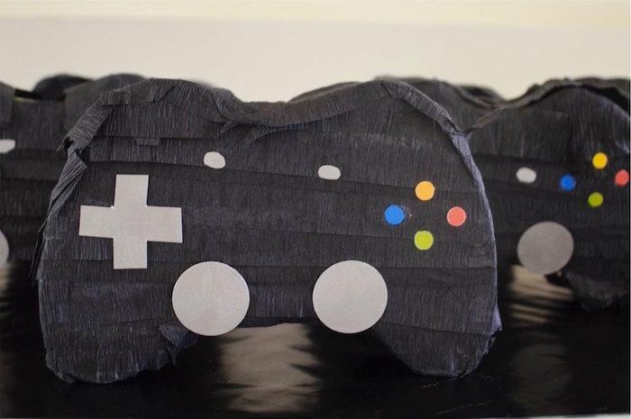 X-Box controller pinata from a Gaming + Video Gamer Birthday Party on Kara's Party Ideas | KarasPartyIdeas.com (8)