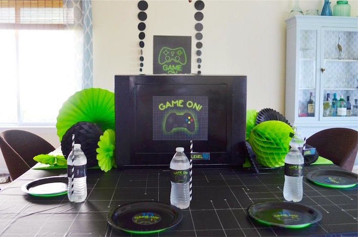 Guest table from a Gaming + Video Gamer Birthday Party on Kara's Party Ideas | KarasPartyIdeas.com (25)