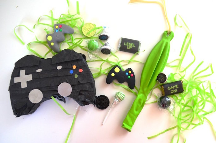 Favors + pinata contents from a Gaming + Video Gamer Birthday Party on Kara's Party Ideas | KarasPartyIdeas.com (6)