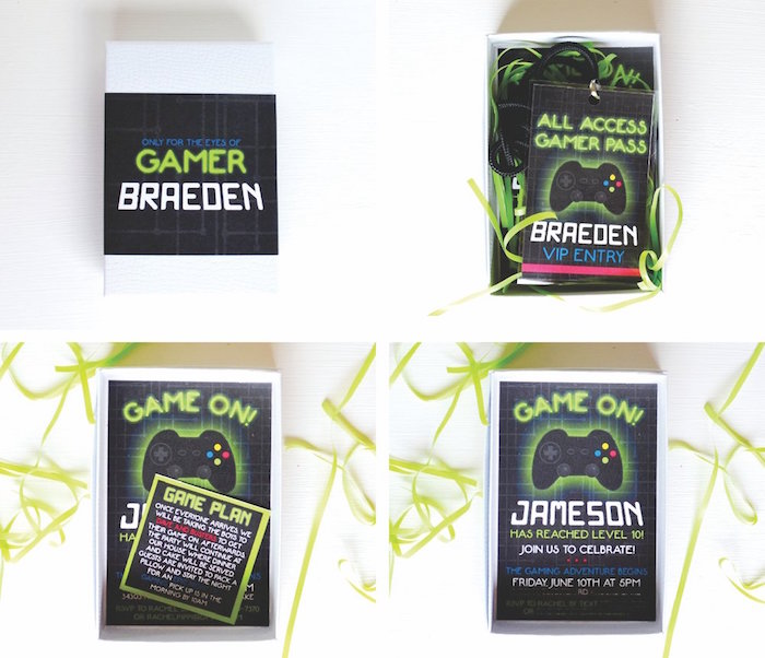 Invitation from a Gaming + Video Gamer Birthday Party on Kara's Party Ideas | KarasPartyIdeas.com (5)