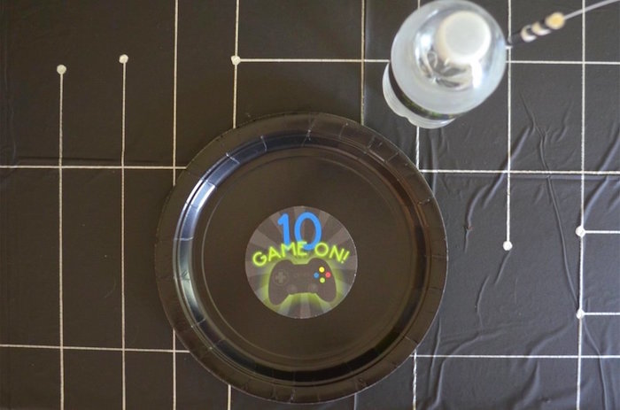 Place setting from a Gaming + Video Gamer Birthday Party on Kara's Party Ideas | KarasPartyIdeas.com (24)