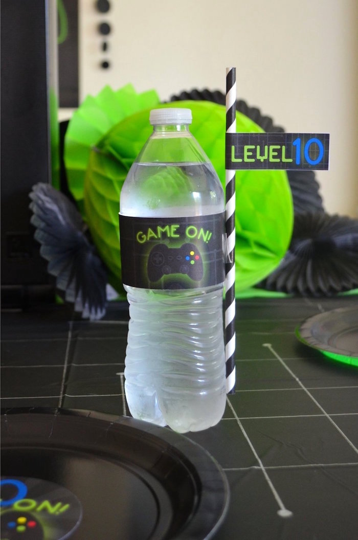 Drink label + straw flag from a Gaming + Video Gamer Birthday Party on Kara's Party Ideas | KarasPartyIdeas.com (22)