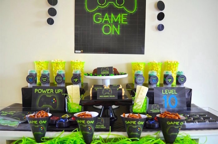 """""""Game On"""" party table from a Gaming + Video Gamer Birthday Party on Kara's Party Ideas 