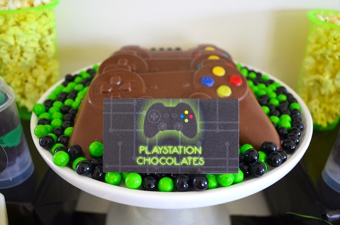 Playstation chocolates from a Gaming + Video Gamer Birthday Party on Kara's Party Ideas | KarasPartyIdeas.com (17)