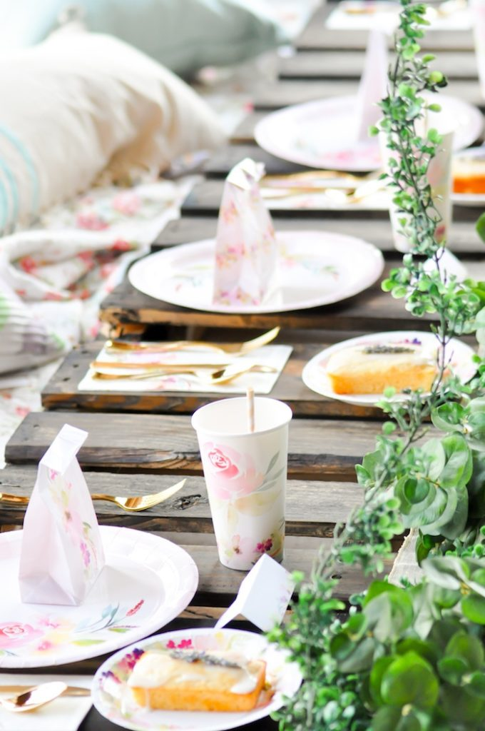 Table Setting Gorgeous Tablescape from Floral Garden Bridal Shower via Kara's Party Ideas