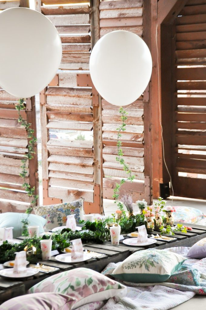 Tablescape from DIY Floral Strung Balloon Garland via Kara's Party Ideas