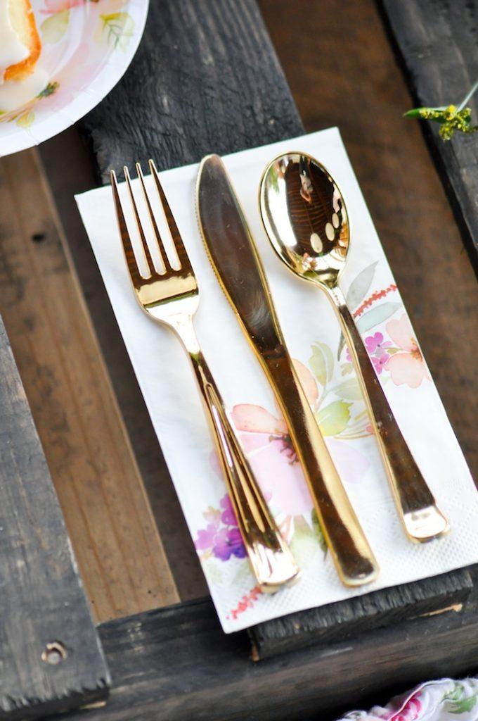 Flatware Gorgeous Tablescape from Floral Garden Bridal Shower via Kara's Party Ideas