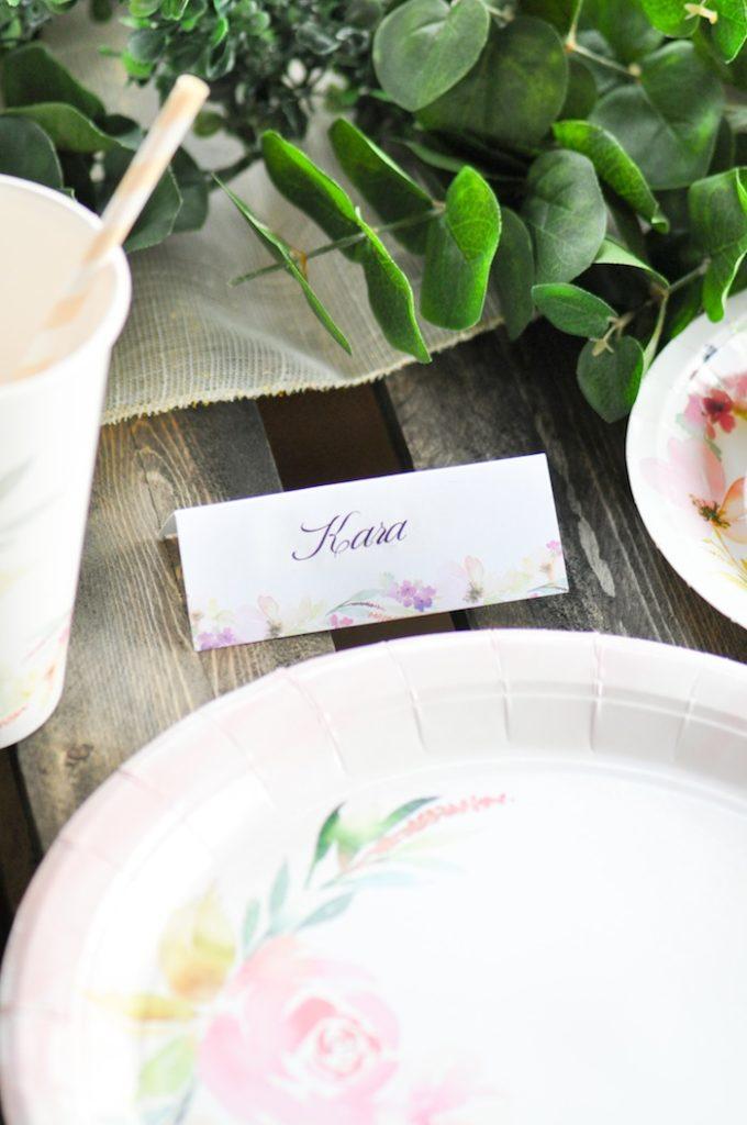 Name Card Gorgeous Tablescape from Floral Garden Bridal Shower via Kara's Party Ideas