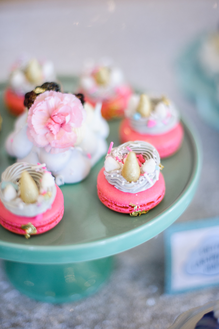 Unicorn macarons from a Geometrical Magical Unicorn Party on Kara's Party Ideas | KarasPartyIdeas.com (24)