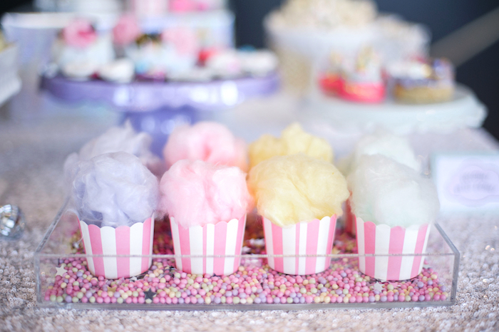 Cotton candy cups from a Geometrical Magical Unicorn Party on Kara's Party Ideas | KarasPartyIdeas.com (21)