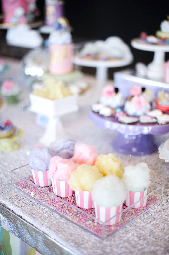 Cotton candy cups from a Geometrical Magical Unicorn Party on Kara's Party Ideas | KarasPartyIdeas.com (19)