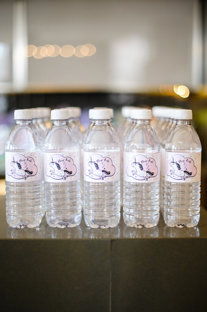 Unicorn labeled water bottles from a Geometrical Magical Unicorn Party on Kara's Party Ideas | KarasPartyIdeas.com (15)