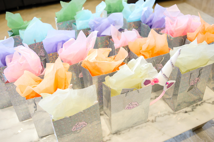 Shimmering silver gift/favor bags from a Geometrical Magical Unicorn Party on Kara's Party Ideas | KarasPartyIdeas.com (33)