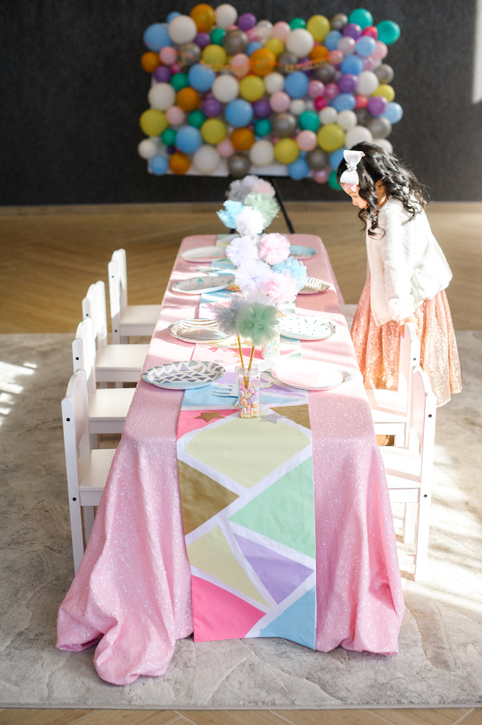 Kid party table from a Geometrical Magical Unicorn Party on Kara's Party Ideas | KarasPartyIdeas.com (13)