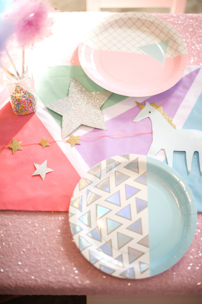 Tabletop + partyware from a Geometrical Magical Unicorn Party on Kara's Party Ideas | KarasPartyIdeas.com (12)