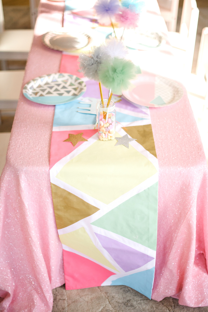Geometric table runner from a Geometrical Magical Unicorn Party on Kara's Party Ideas | KarasPartyIdeas.com (11)