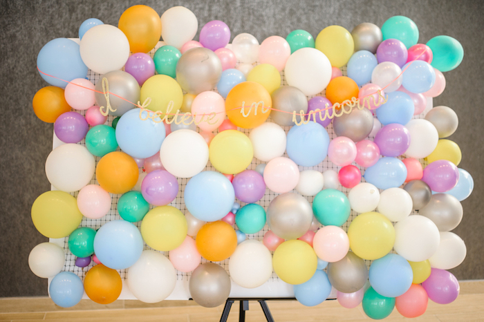 Balloon wall + photo booth from a Geometrical Magical Unicorn Party on Kara's Party Ideas | KarasPartyIdeas.com (10)