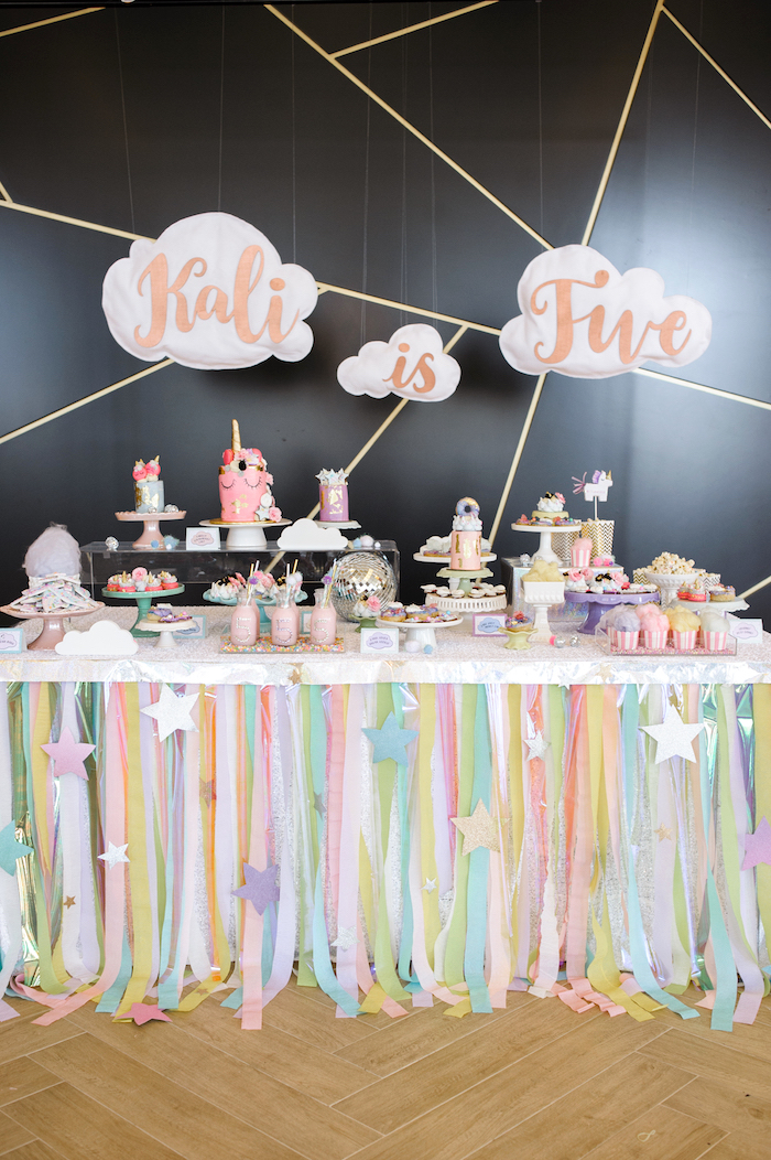Dessert table from a Geometrical Magical Unicorn Party on Kara's Party Ideas | KarasPartyIdeas.com (31)